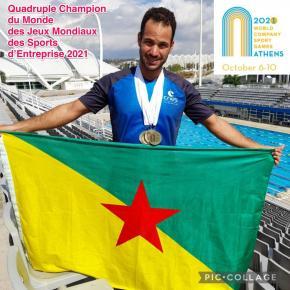 Natation: médailles d'or pour le Guyanais Cédric De Boisvilliers aux Jeux Mondiaux des Sports d'Entreprise